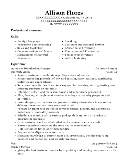 storege or Distribution Manager resume template Virginia