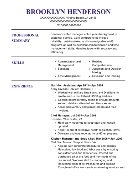 Wic Nutrition Assistant Resume Sample
