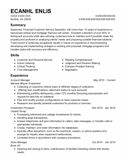 Account Manager resume format Virginia