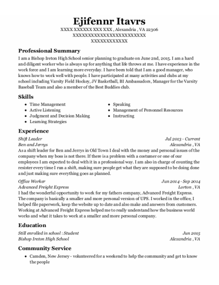 Shift Leader resume format Virginia