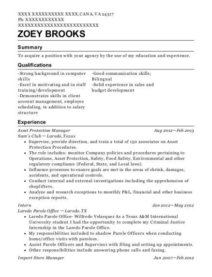 Asset Protection Manager resume example Virginia