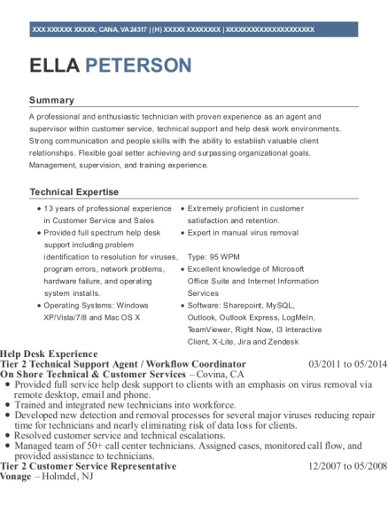 Tier 2 Technical Support Agent resume example Virginia