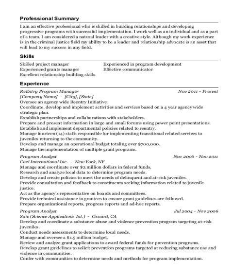 ReEntry Program Manager resume example Virginia