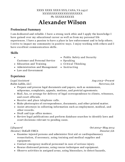 Legal Assistant resume format Virginia