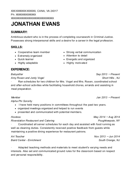 Babysitter resume format Virginia