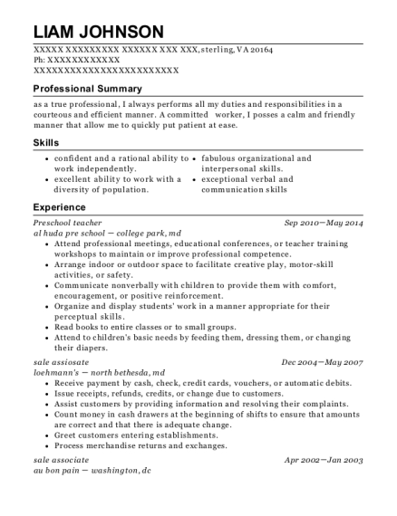 Preschool Teacher resume example Virginia