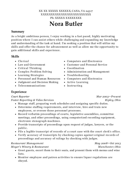 Court Reporter resume format Virginia
