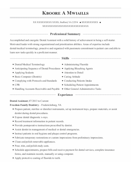 Dental Assistant resume example Virginia