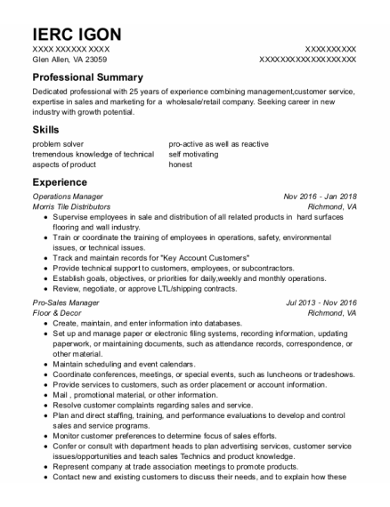 Operations Manager resume sample Virginia
