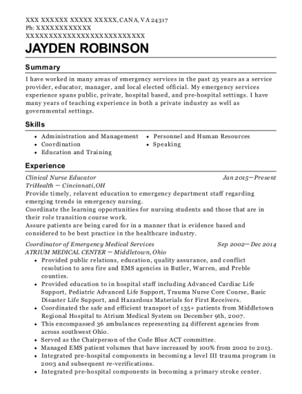 Clinical Nurse Educator resume sample Virginia