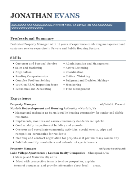 Property Manager resume sample Virginia