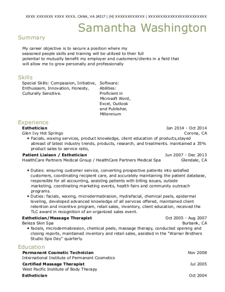 Esthetician resume example Virginia