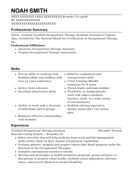 Coliseum Hospital Certified Occupational Therapy Assistant