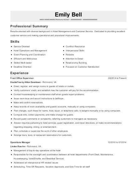 Front Office Supervisor resume format Virginia