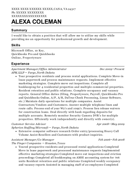 Apartment Manager resume template Virginia