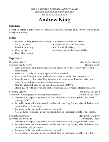 Security Officer resume sample Virginia