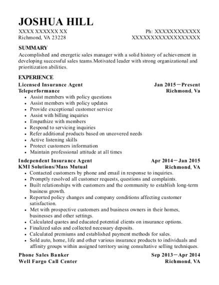 Licensed Insurance Agent resume example Virginia