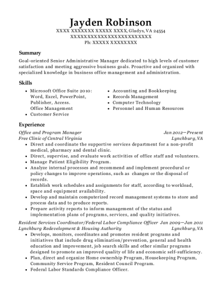 Office and Program Manager resume example Virginia