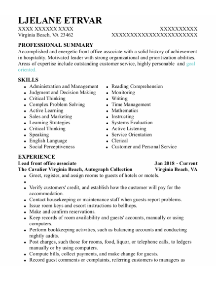 Front Office Supervisor resume template Virginia