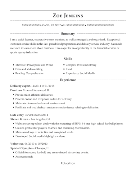 Delivery expert resume sample Virginia