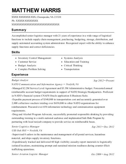 Budget Analyst resume sample Virginia