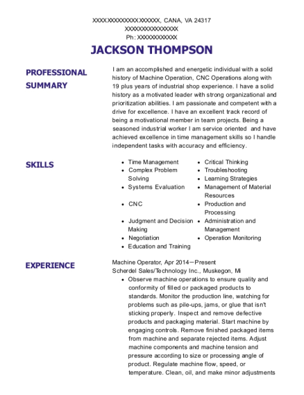 Machine Operator resume example Virginia