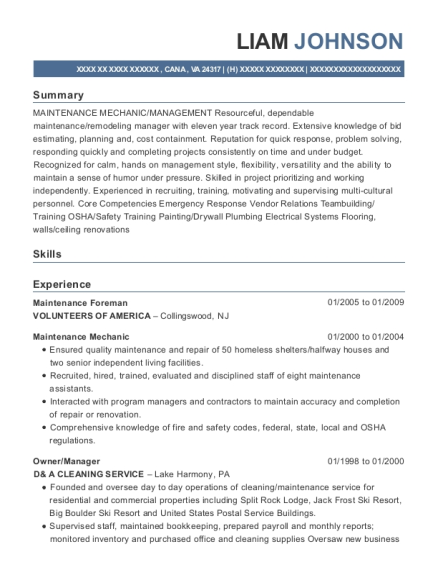 Maintenance Foreman resume sample Virginia