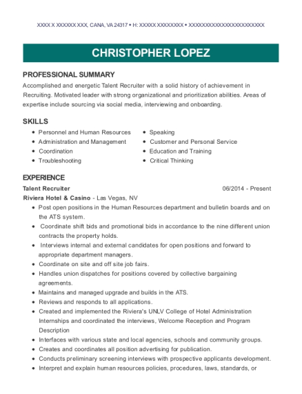 Talent Recruiter resume format Virginia