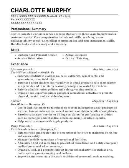 Aftercare provider resume template Virginia