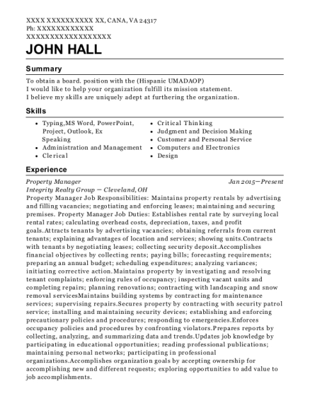 Property Manager resume example Virginia