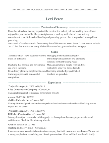 Project Manager resume template Virginia
