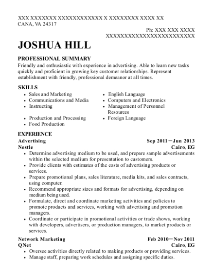 Advertising resume example Virginia