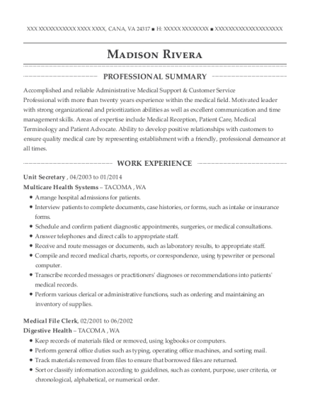 Unit Secretary resume sample Virginia