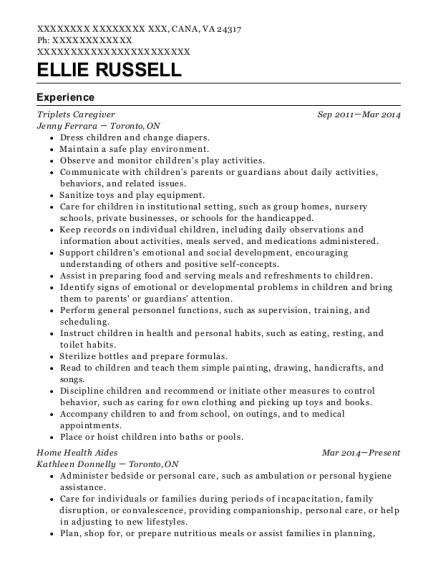 Triplets Caregiver resume format Virginia