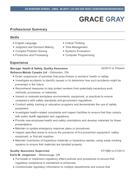 Manager Health & Safety resume format Virginia