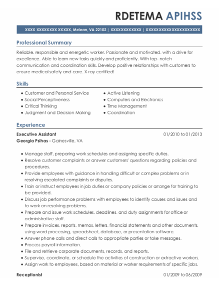 Executive Assistant resume template Virginia