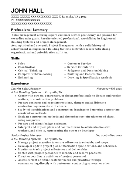 District Sales Manager resume format Virginia