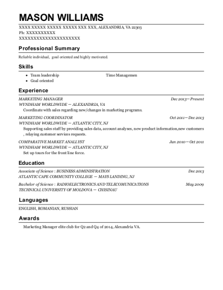 Marketing Manager resume template Virginia