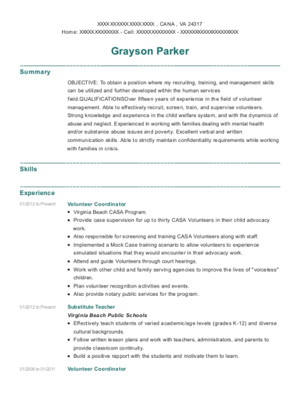 Volunteer Coordinator resume sample Virginia