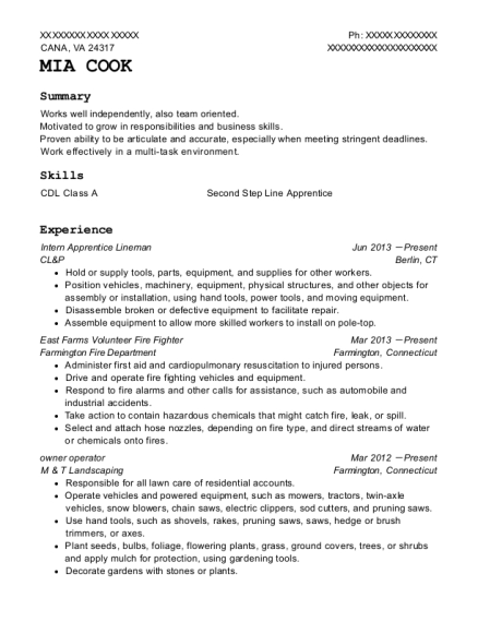 Intern Apprentice Lineman resume template Virginia