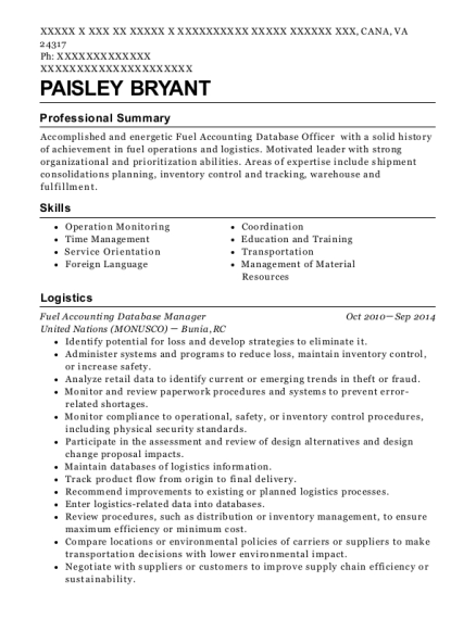 Fuel Accounting Database Manager resume format Virginia