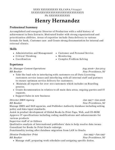 Sr Manager Content Operations resume template Virginia