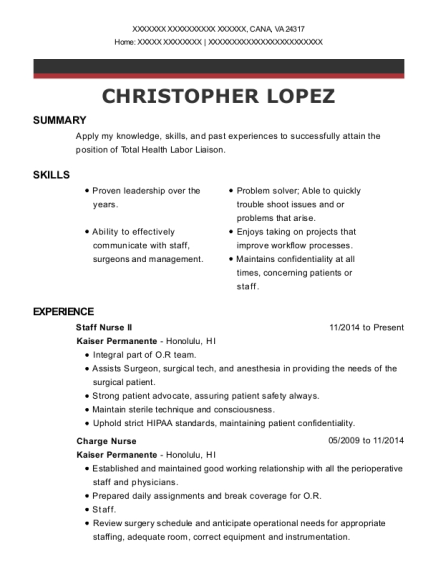 Staff Nurse II resume sample Virginia