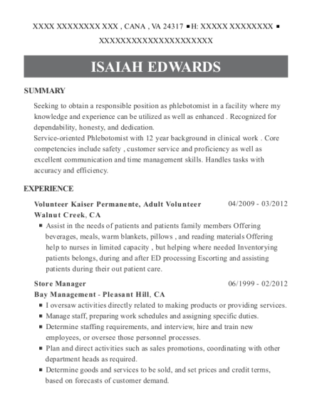 Volunteer Kaiser Permanente resume template Virginia