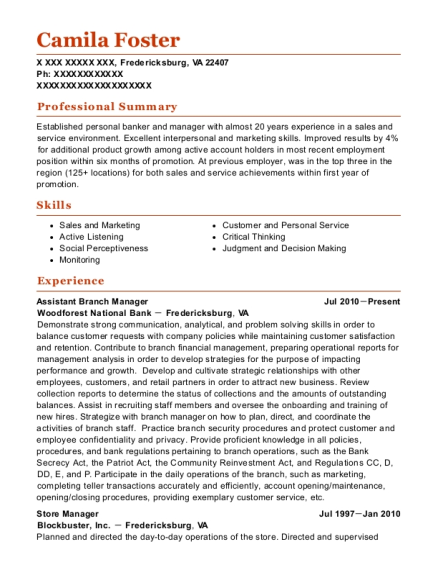 Assistant Branch Manager resume format Virginia