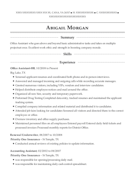 Office Assistant HR resume example Virginia