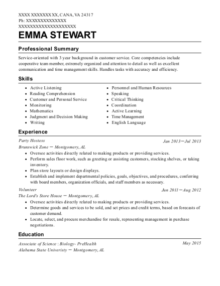Party Hostess resume format Virginia