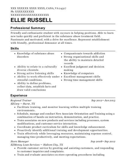 Regional Trainer resume sample Virginia