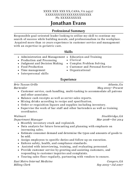 Bartender resume template Virginia