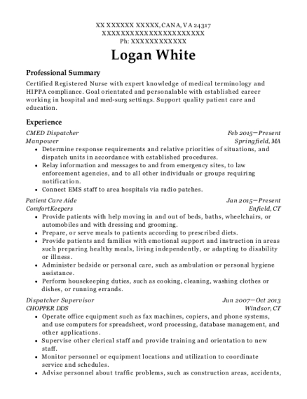 CMED Dispatcher resume template Virginia